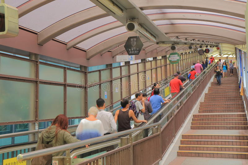 中央中间平实自动扶梯香港 免版税库存图片