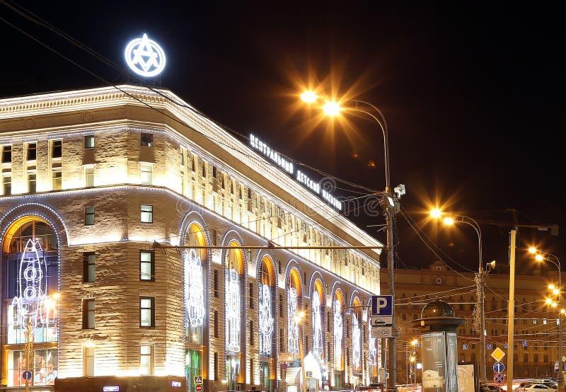 中央儿童的商店的大厦的夜视图Lubyanka的,莫斯科,俄罗斯 免版税库存图片