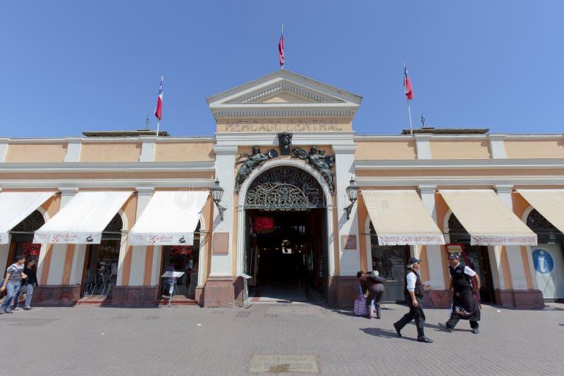 中央入口mercado圣地亚哥 库存图片