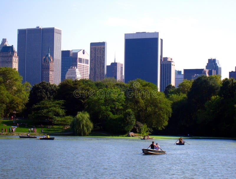 中央公园划船 免版税库存照片