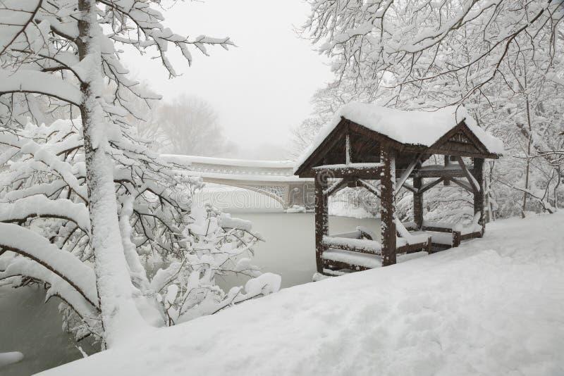 中央公园在大雪,纽约以后的弓桥梁 免版税库存照片