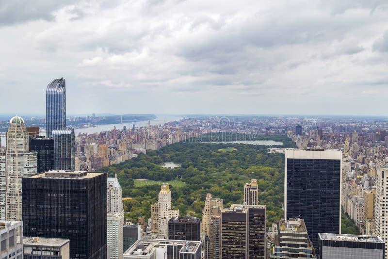 中央公园鸟瞰图在曼哈顿,纽约,美国 图库摄影