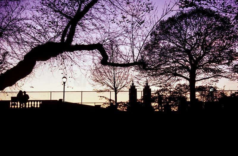 中央公园,日落的纽约 免版税库存照片