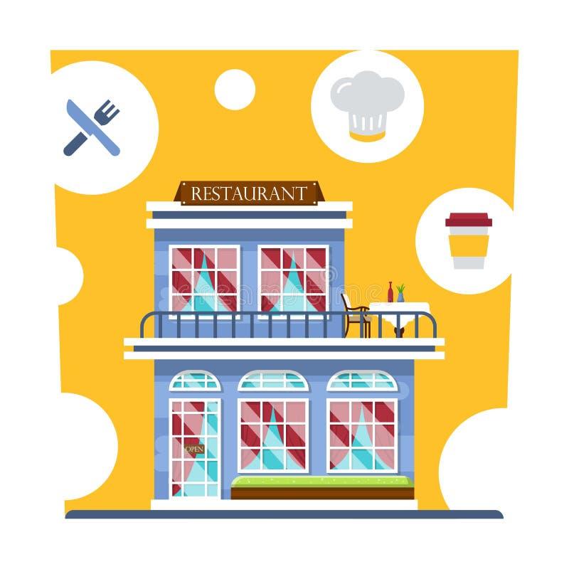 中央咖啡馆大厦 餐馆有夏天大阳台的和有帷幕的 设置详细的餐馆门面和内部 向量例证