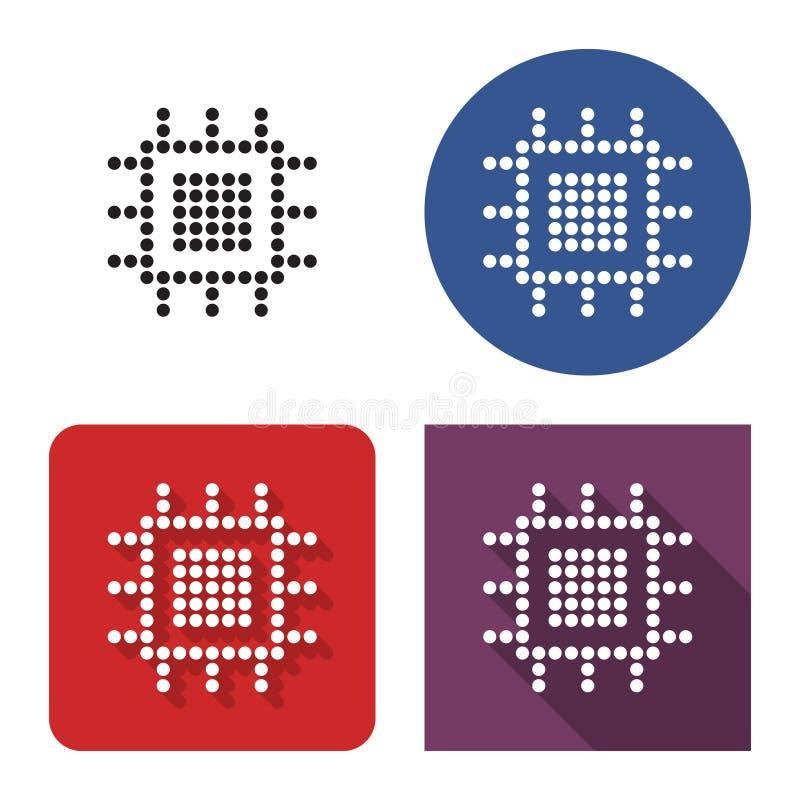 中央处理单元被加点的象在四个变形的 库存例证