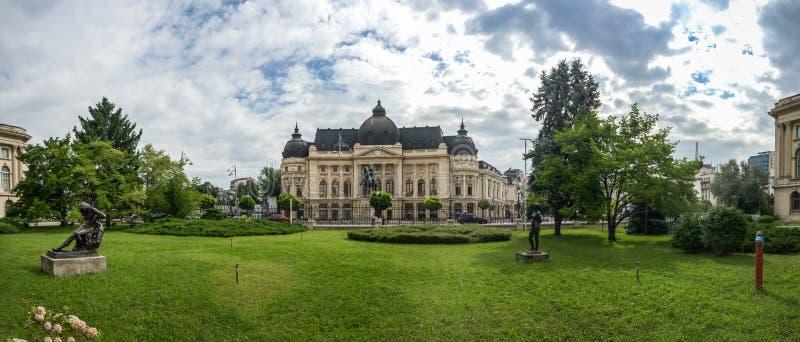 中央大学图书馆在布加勒斯特罗马尼亚 免版税图库摄影