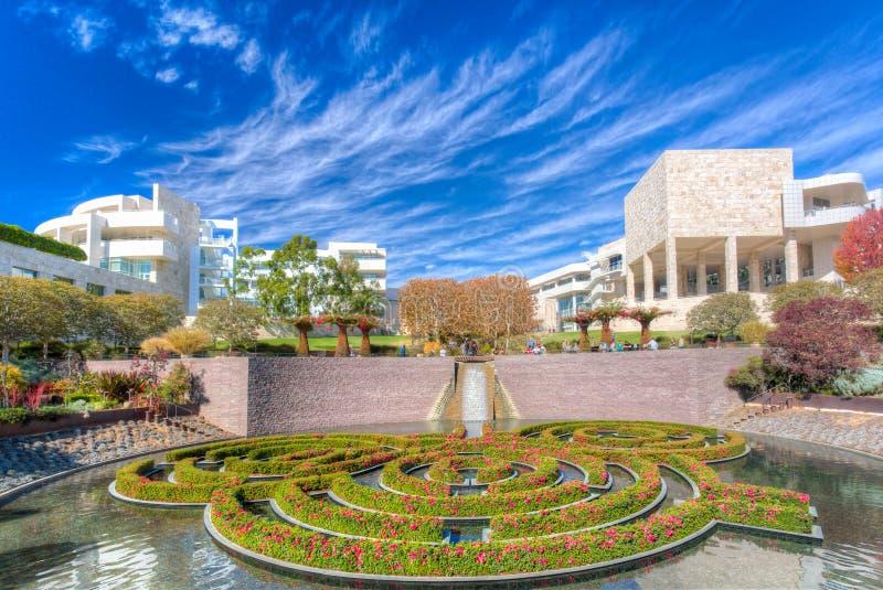 中央庭院在格蒂中心在洛杉矶 库存照片