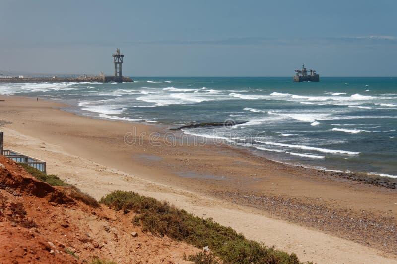 中央海滩在德西迪Ifni,摩洛哥 免版税图库摄影