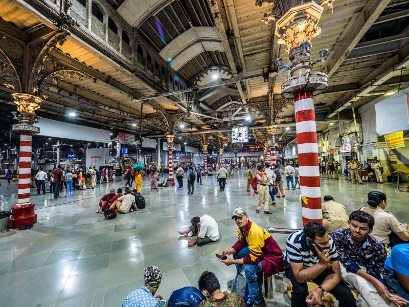 中央火车站在孟买在晚上 免版税图库摄影
