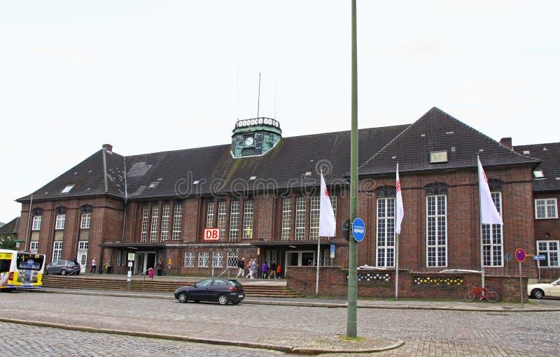 中央火车站在弗伦斯堡,德国 图库摄影