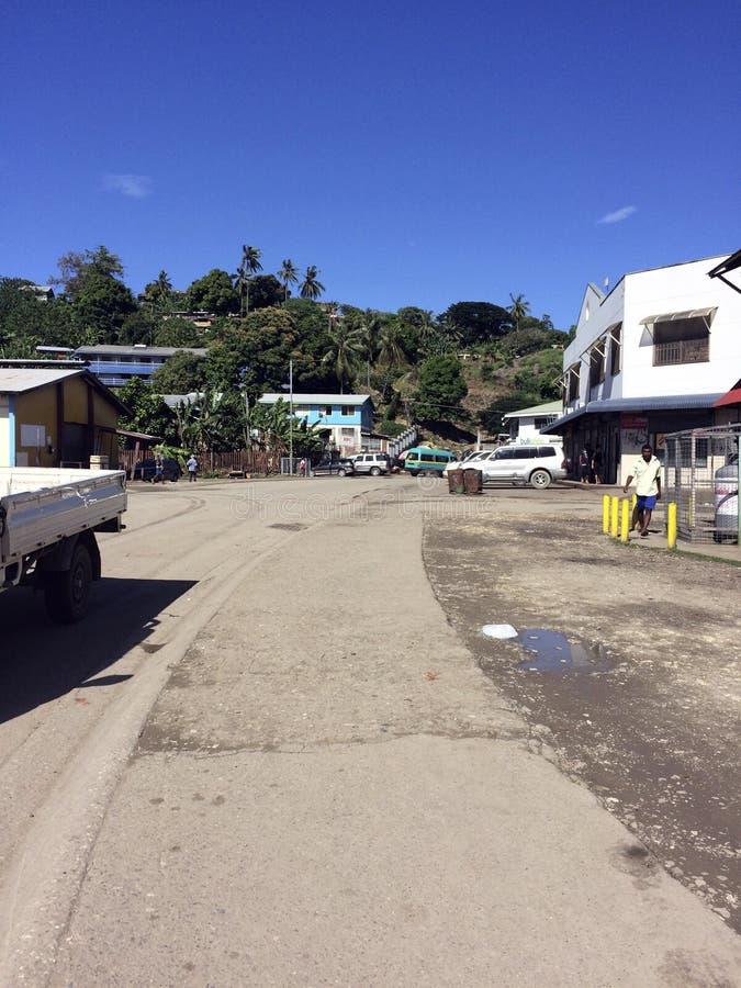 中央霍尼亚拉,所罗门群岛场面  库存照片