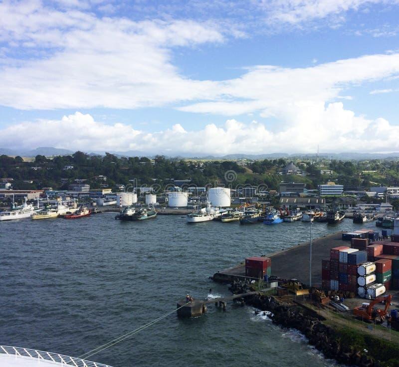 中央霍尼亚拉,所罗门群岛场面  库存图片