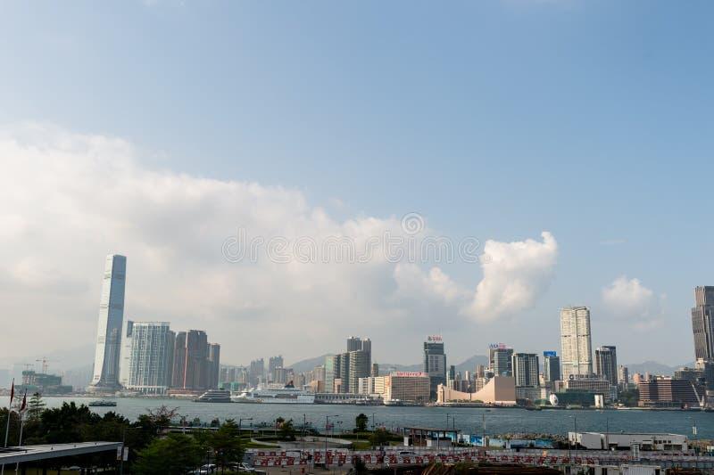 中央,香港-大约2018年4月:维多利亚港口在香港 免版税库存图片
