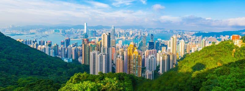 中央,香港- 2016年9月21日:从t的摩天大楼视图 库存图片
