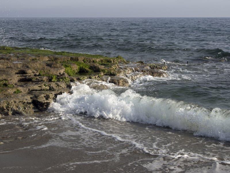 击中岩石岸的海波浪 库存图片