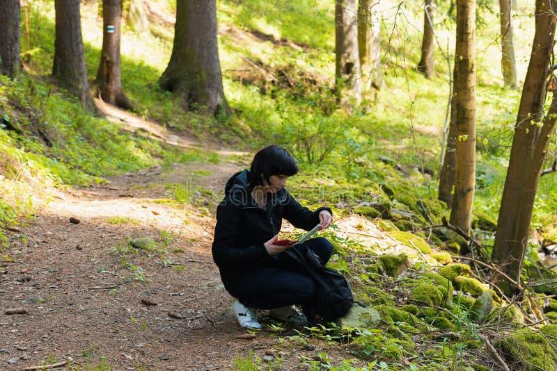 中年妇女,远足的旅行 免版税库存照片