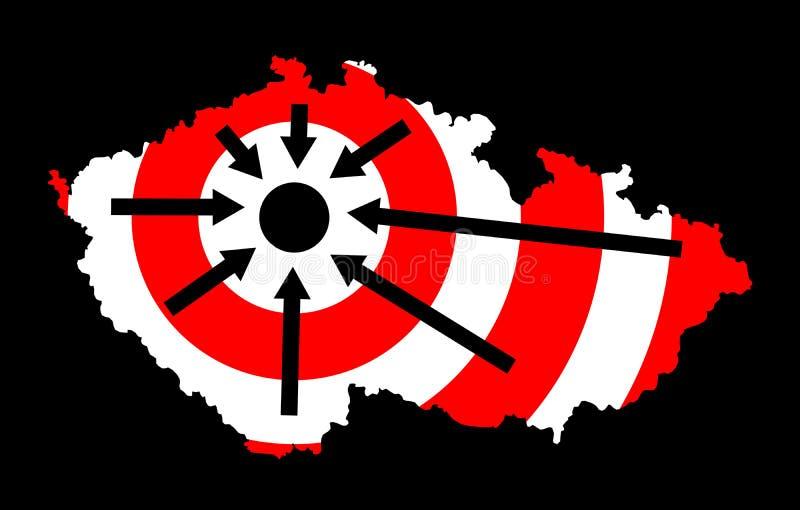 中心和周围在捷克和布拉格 库存例证