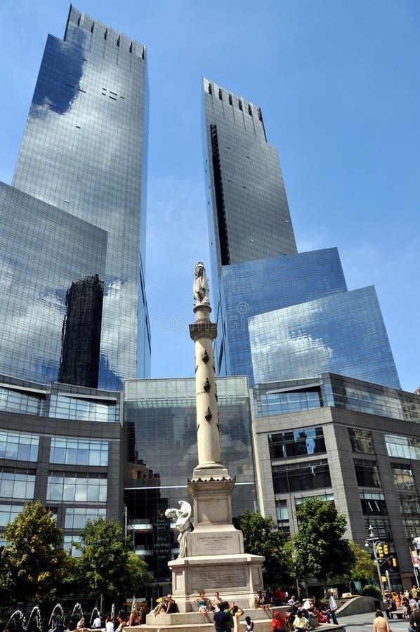 中心圆哥伦布nyc时代华纳 免版税图库摄影