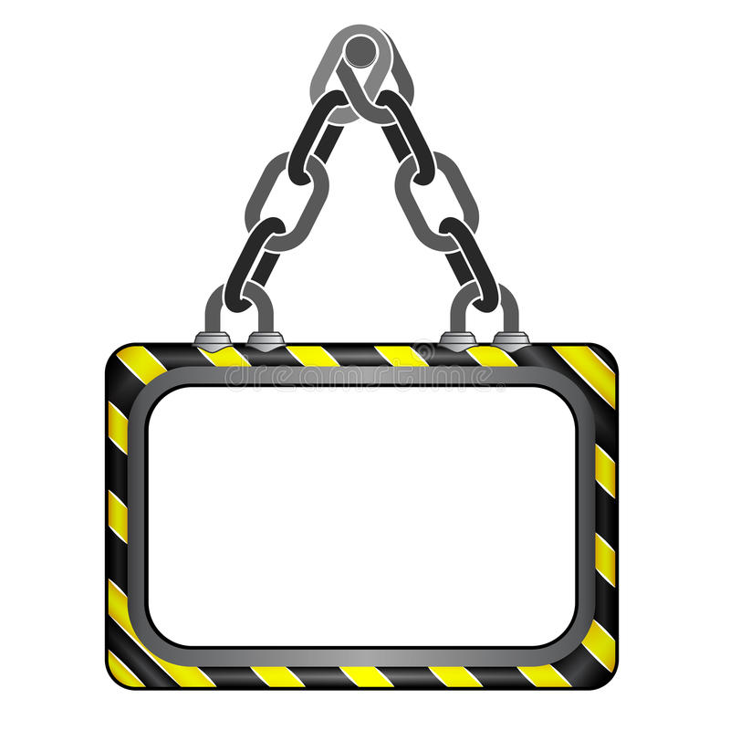 中心垂悬了黑黄色镶边链委员会模板 库存例证