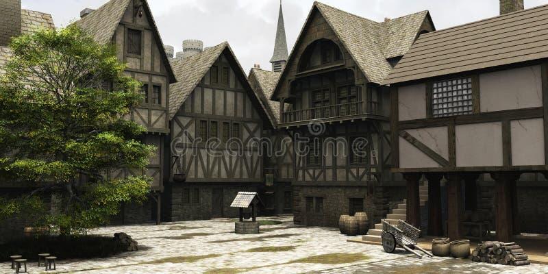 中心幻想市场中世纪城镇 向量例证