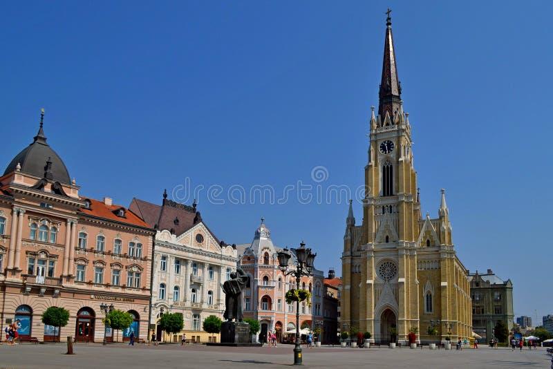 中心广场在诺维萨德 免版税库存照片