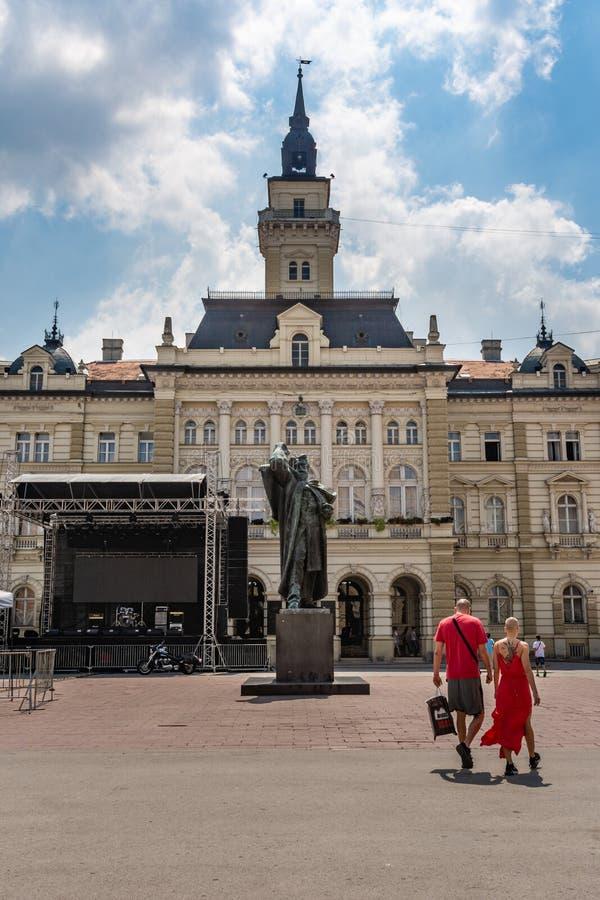 中心广场的看法在诺维萨德,塞尔维亚 图库摄影