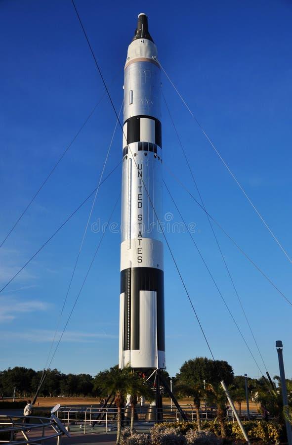 中心早期的肯尼迪火箭空间 图库摄影