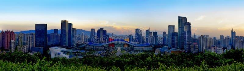 中心昼夜深圳视图 免版税图库摄影