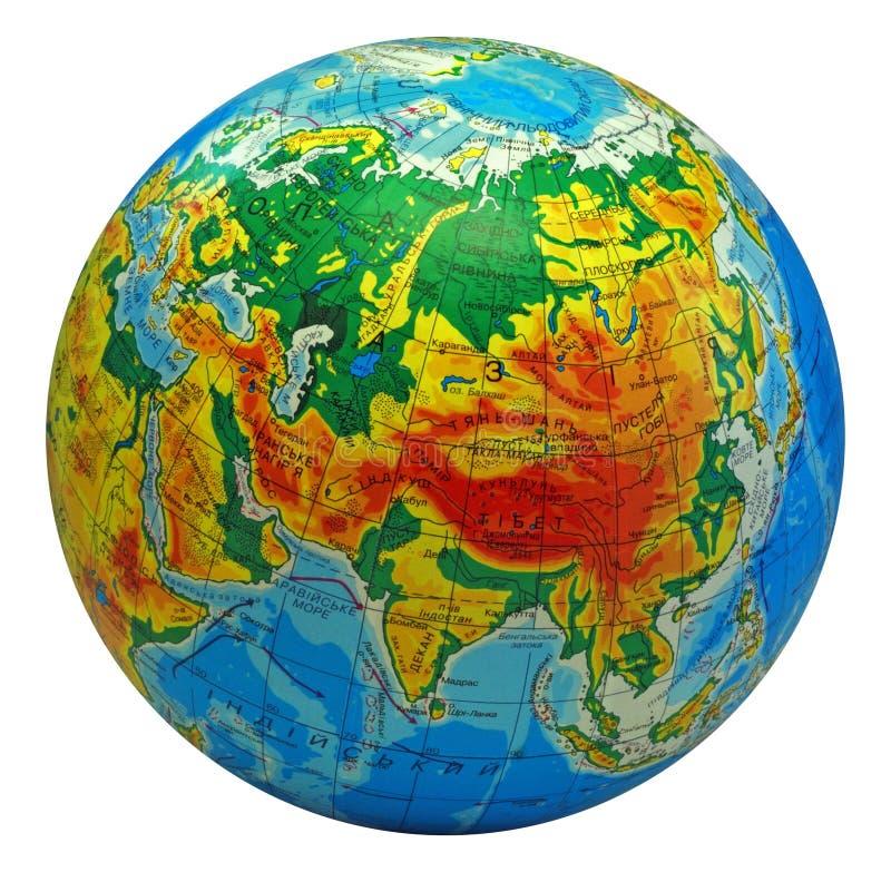 中心欧亚大陆地球 免版税库存图片