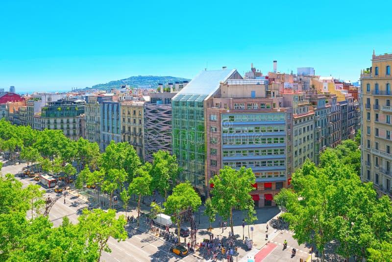 中心的巴塞罗那,自治权的首都的全景 免版税库存图片