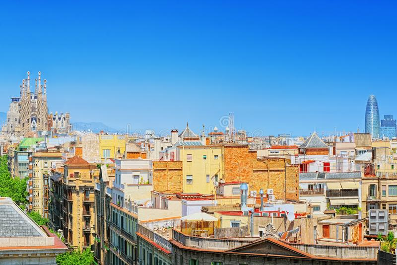 中心的巴塞罗那,自治权的首都的全景 库存照片