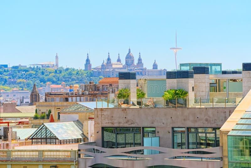 中心的巴塞罗那,自治权的首都的全景 免版税库存照片