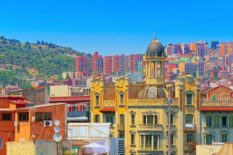 中心的巴塞罗那,自治权的首都的全景 图库摄影
