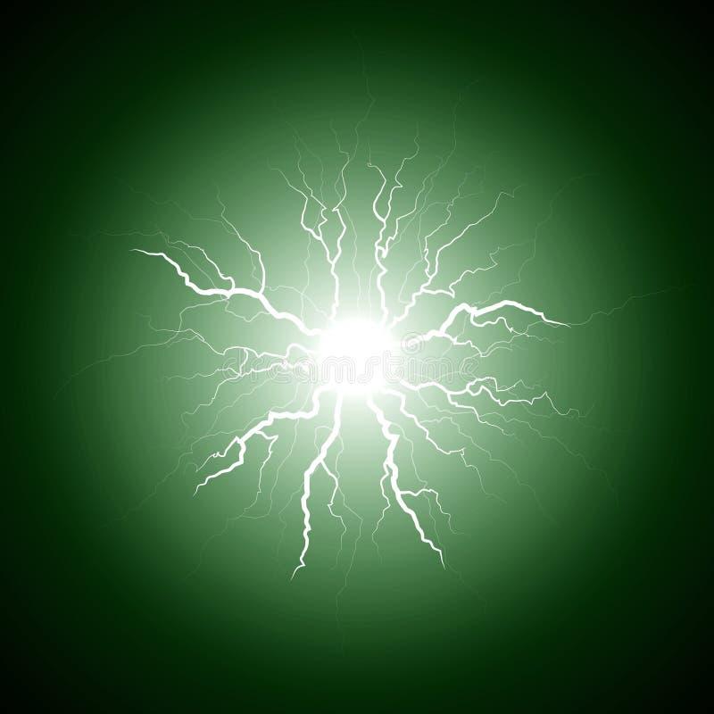 从中心的绿色闪电 库存例证