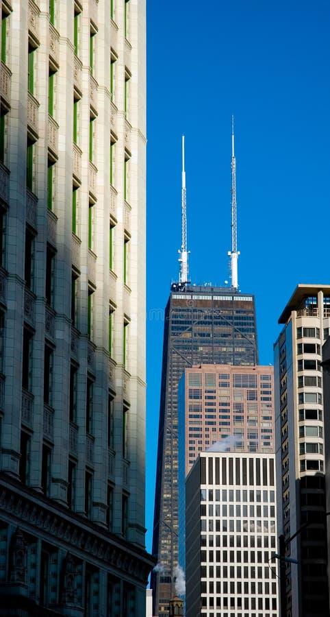 中心芝加哥汉考克・约翰塔 免版税库存图片