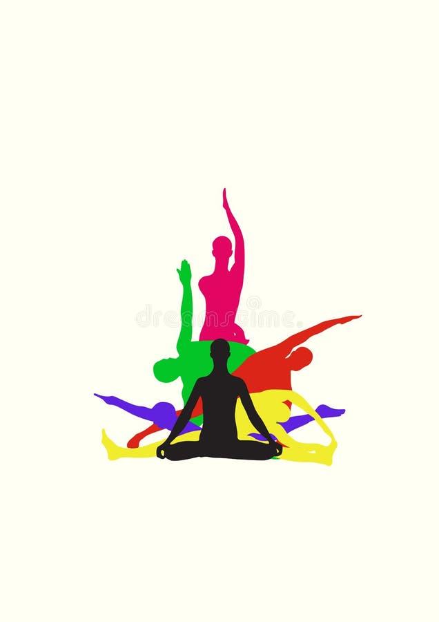 中心身分瑜伽 向量例证
