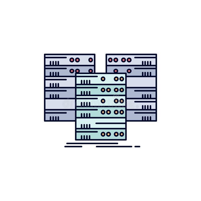 中心,中心,数据,数据库,服务器平的颜色象传染媒介 向量例证