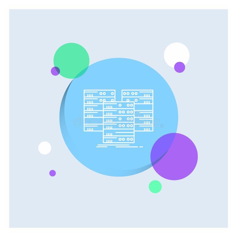 中心,中心,数据,数据库,服务器空白线路象五颜六色的圈子背景 向量例证