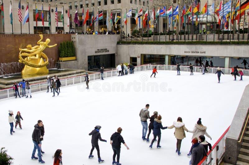 中心洛克菲勒溜冰者 免版税图库摄影