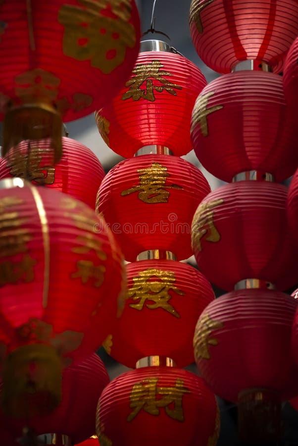 中文报纸灯笼在香港中部区  免版税库存图片