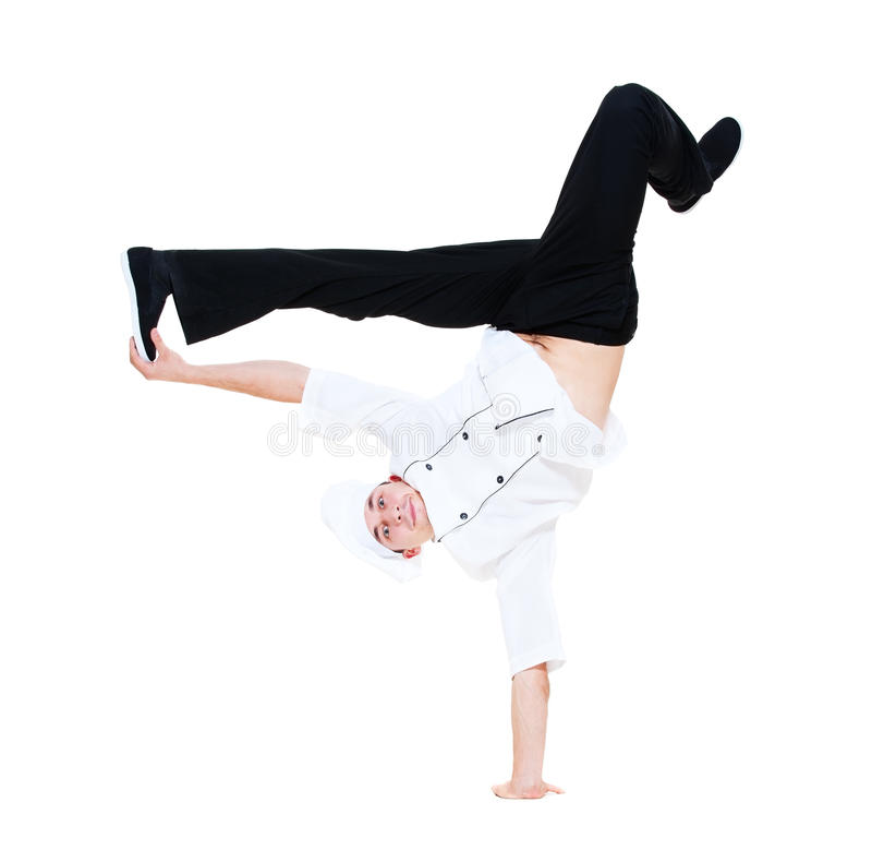中断厨师滑稽舞蹈的跳舞 库存图片