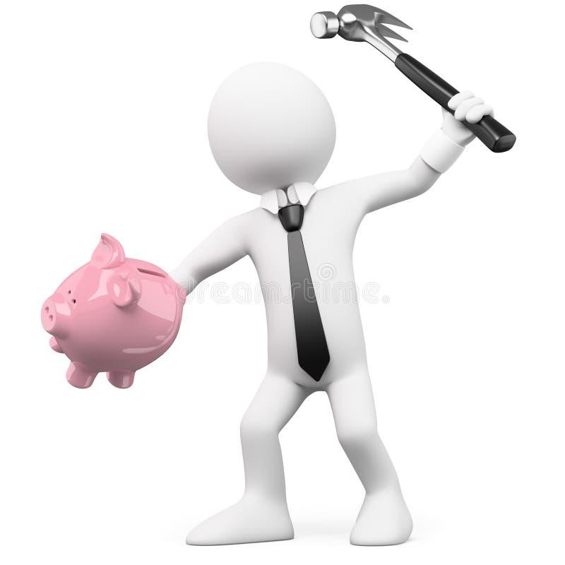 中断生意人的银行贪心 向量例证