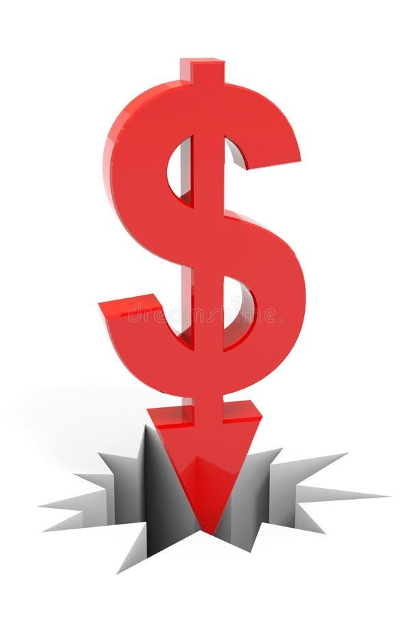 中断美元的箭头下来难倒红色符号 皇族释放例证