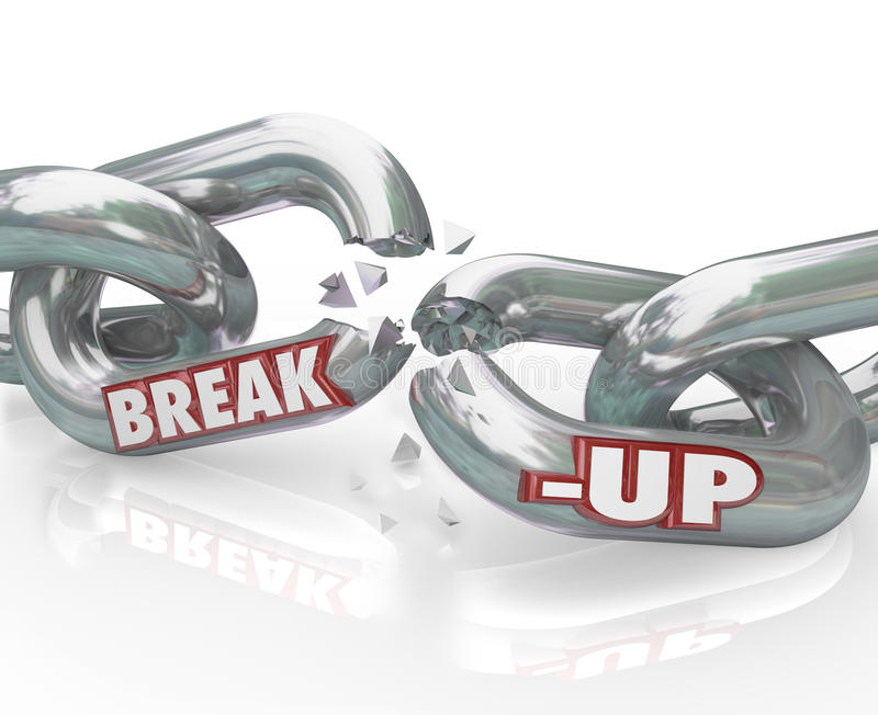 中断被中断的链离婚链接分隔  库存例证