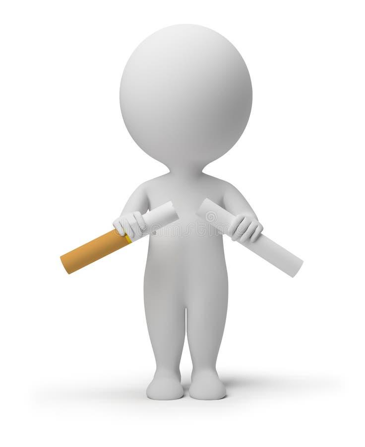 中断香烟人的3d小 向量例证