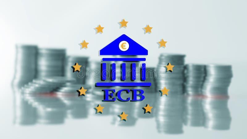 中欧的银行 ECB 财务、资本银行业务和投资概念 向量例证