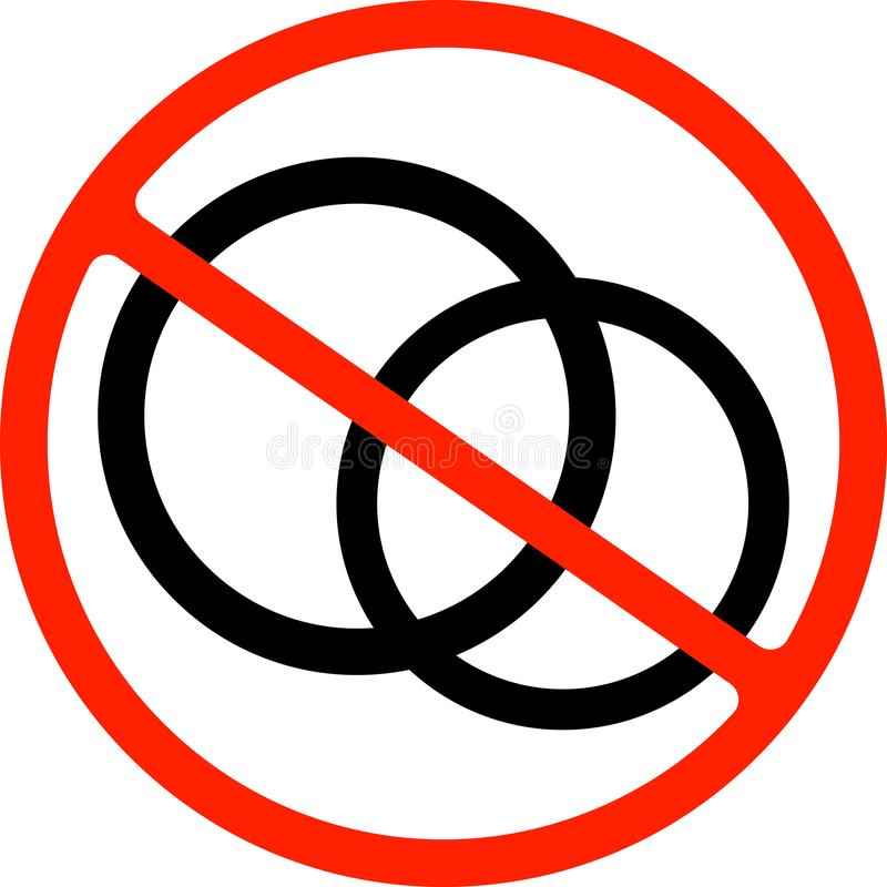 中止或禁令标志 结婚戒指象 新娘和新郎首饰标志 禁止红色标志 皇族释放例证