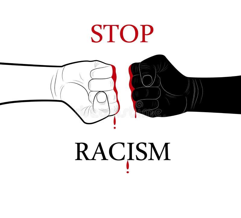 中止种族主义概念、黑白两只的手和血液下落在与文本中止种族主义的中部,最低纲领派海报, 皇族释放例证