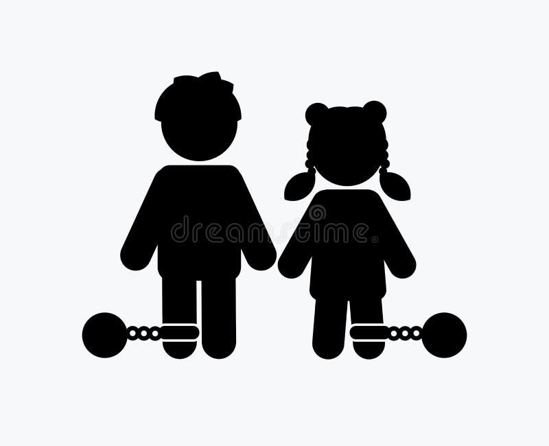 中止虐待儿童、孩子有链子的和球象 向量例证