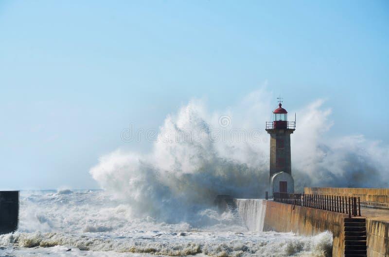 击中海岸的强的波浪 库存图片